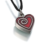 Pewter Heart with Red Enamel Spiral Cremation Pendant