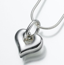 Sterling Silver Puff Heart Cremation Pendant